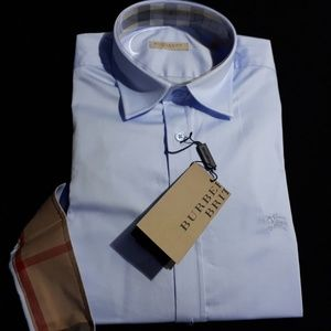 BURBERRY BRIT MEN PALE BLUE SMALL CASUAL SHIRT